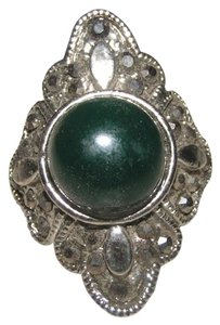 Flashy Green/Silver Diamante Fashion Ring Free Shipping