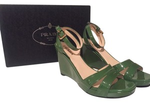 Prada Wedge Leather Green Sandals