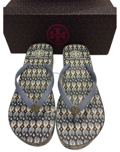Tory Burch Flip Flop Size 8 Wedge Baby Blue Multi Sandals