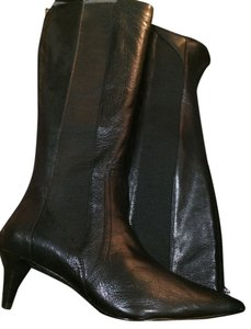 Adrienne Vittadini Jeff Dress Leather Kitten Heel Black Boots
