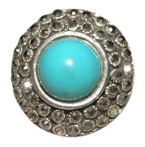 Chunky Turquoise & Silver Fashion Ring Free Shipping