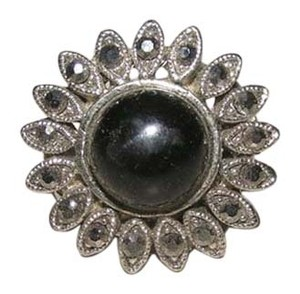 Bold Black Lucite Fashion Flower Ring Free Shipping
