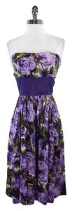 Plenty by Tracy Reese short dress Purple Floral Silk Strapless on Tradesy