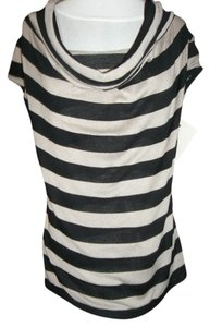 INC International Concepts Cap Sleeve Striped Draped Neck Double Layer Sweater