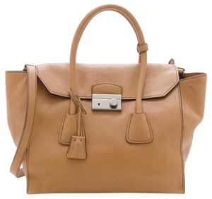 Prada Italian Leather Tote in Natural