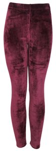 TD Velvet Velour Soft Tights Pants Vintage Burgundy Leggings