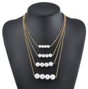 New Multi Strand Faux Pearl Necklace Gold Tone J1570