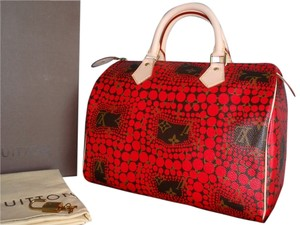Louis Vuitton Monogram Speedy Kusama Chanel Satchel in Red Brown Multi
