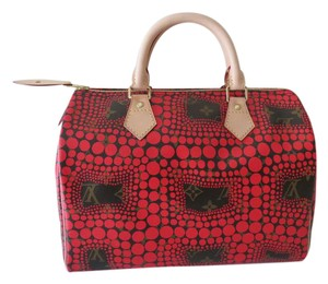 Louis Vuitton Speedy Kusama Chanel Yayoi Satchel in Red