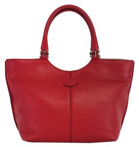 Tod's Red Leather Shoulder Bag
