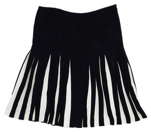 Ralph Lauren Black Cream Pleated Skirt