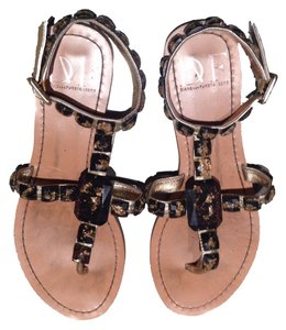 Diane von Furstenberg T-strap Leather Sandal Gold Sandals