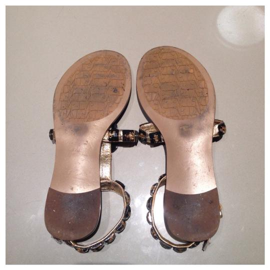 Diane von Furstenberg T-strap Leather Brown Gold Sandals