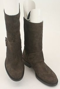 J.Crew Crew 30485 Br5798 Suede Mid Calf Buckle Round Toe B317 Brown Boots