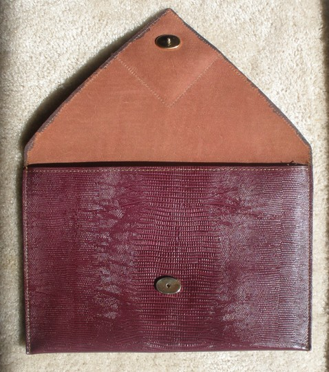 David Mehler for DAME Leather Envelope Handbag Mauve Clutch