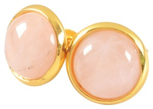 New 14K Gold Filled Pink Rose Quartz Gemstone Stud Earrings Small 1/2 in. Jewelry J1572