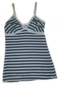 Forever 21 Top Light Teal and Navy Blue Stripes