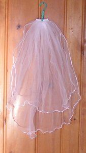 Reduced Satin Rope Edged 2 Tier Veil Free Shipping