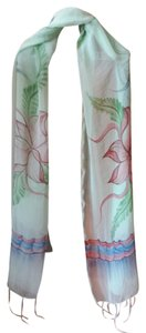 Unknown Soft pastel scarf with large flowers and fringe