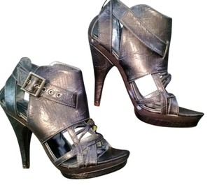 Michael Antonio Platform Metallic Cage Pewter Sandals