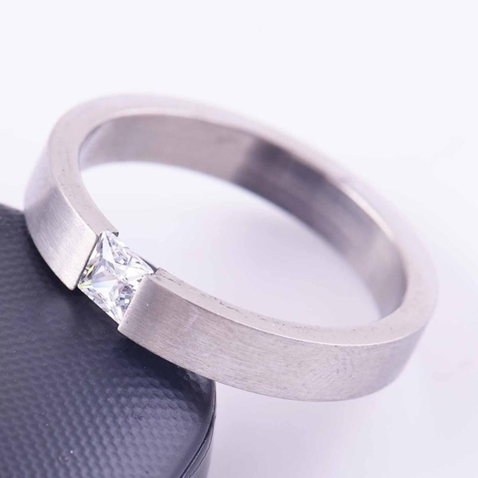 Silver Bogo Free Uni Cz Stainless Steel Ring Shipping Women S Wedding Band