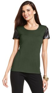 Grace Elements Fitted Unlined Faux Leather T Shirt Green