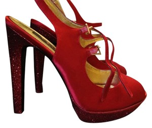 Nina Shoes Satin Slingback Glitter Platform Leather High Heel Stiletto Red Rouge Crystal Pumps