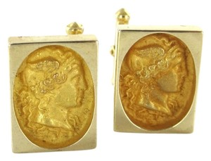 Other 14K YELLOW GOLD CUFFLINKS VINTAGE CUFF LINK MEN GREEK MAN HEAD WINGS HEAD BAND