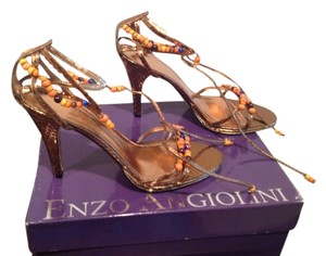 Enzo Angiolini Leather Wooden Beads Bronze snake Sandals