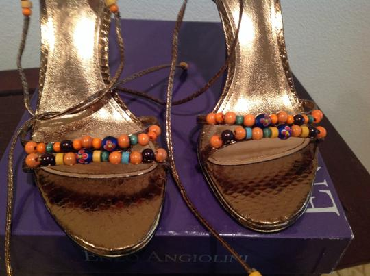 Enzo Angiolini Wooden NEW Bronze leather snake pattern beads Sandals