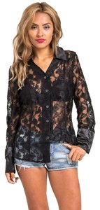 Carolyn Strauss Button Down Shirt BLACK