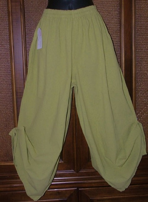Maria De Guadalajara Boho Cotton Oversized Wide Leg Pants Chartreuse Green