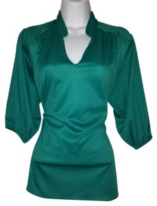 Cal togs Polka Polyester Shirt Vintage Pullover 1970s Top Green and Black