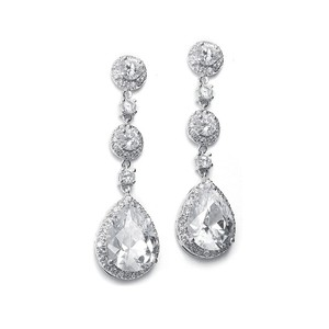 Pure Sparkle Pear-shaped Drop Bridal Earrings With