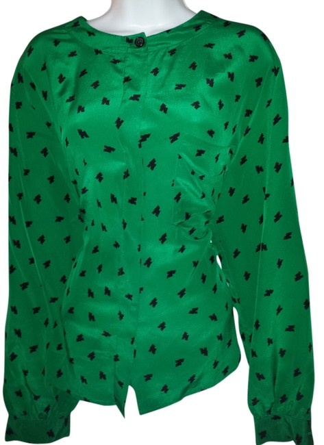 Preload https://item1.tradesy.com/images/dior-green-and-black-christian-blouse-size-14-l-930225-0-0.jpg?width=400&height=650