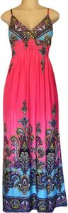 Pink/Multie Maxi Dress by She's Cool Maxi Spring Summer Long Maxi Modern Shoulder Straps