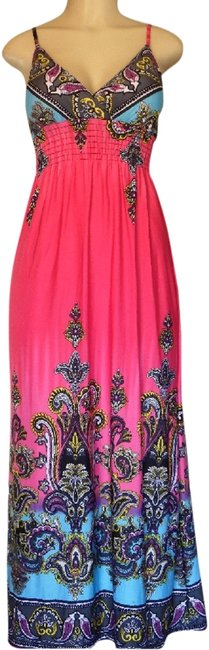 Item - Pink/Multie K`sharr Summer Selections Long Casual Maxi Dress Size 4 (S)