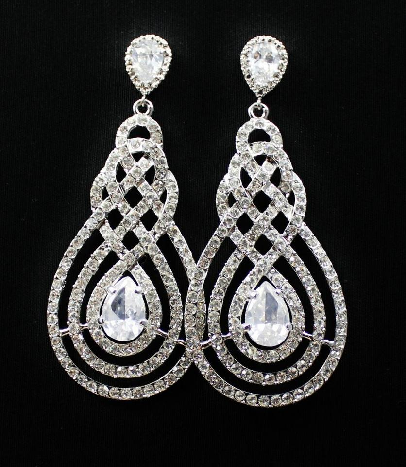 clear rhodium plate vintage style chandelier art deco styl earrings tradesy. Black Bedroom Furniture Sets. Home Design Ideas