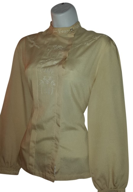Shapely 70's Polyester Polyester Detailed Neck Detailed Bodice Detailed Sleeves Size 8 Shirt Vintage Top Beige
