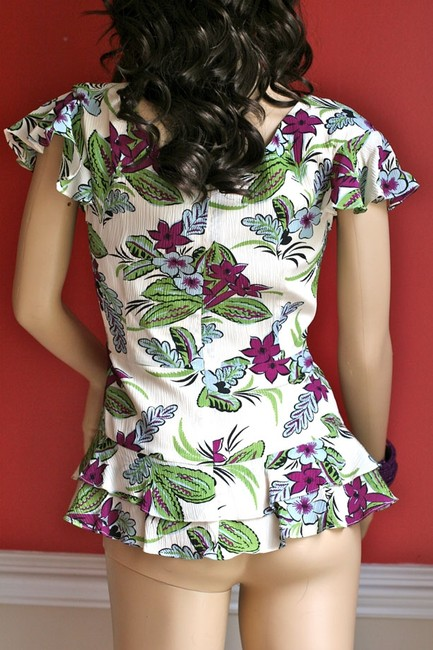 Nanette Lepore Silk Rita Hayworth Floral Asymmetrical Ruffle Vintage Hollywood Flutter Sleeve Short Sleeve Top Multi-Floral