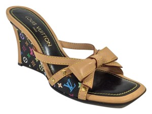 Louis Vuitton Black Multicolor Wedges