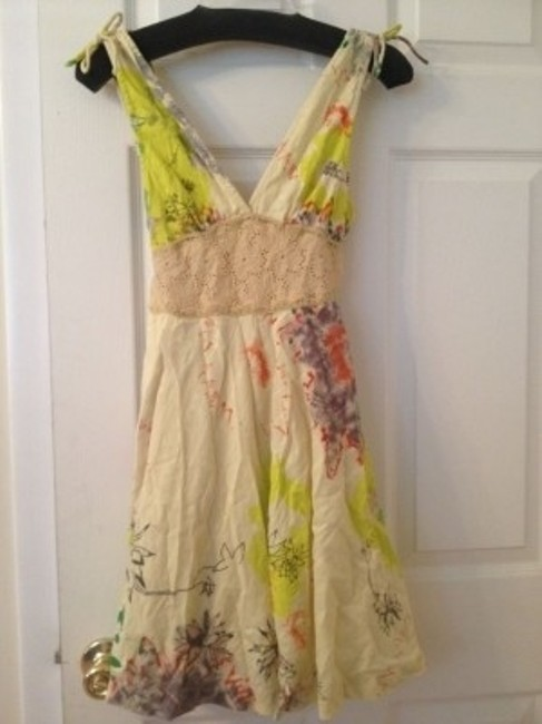Free People short dress beige multi Tucson In Summer Sleeveless V Neck on Tradesy