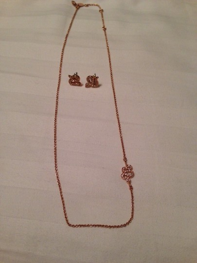 Stella & Dot Serpent Sidewinder Rose Gold Necklace And Stud Earrings