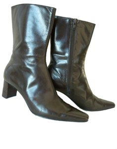 Nine West Leather Midcalf Side Zipper Brown Boots