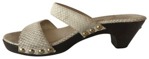 Jimmy Choo Sandals Snakeskin Italian Size 9 Off-White Mules
