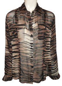Chico's Silk Top black,brown & tan tiger strip print