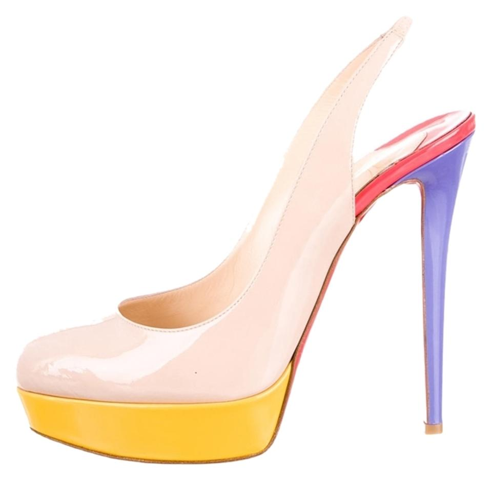 79fd1f3ffdd Christian Louboutin Beige Purple Yellow Nude Multicolor Patent Leather Bianca  Sling Semi Pointed-toe Platform Pumps