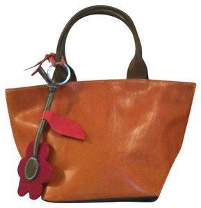 T Nobile Leather Made In Italy Mini Satchel Satchel Tote in Tan Blue Green Red (Multi)