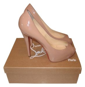 Christian Louboutin Nude Tan Patent Beige Pumps