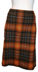 Di Alberta Ferretti Multi Color Plaids Wool Blend New Without Tag Skirt Browns Embroidery